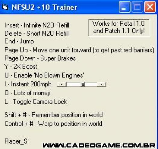 Need for Speed Underground 2 +10 Trainer. trainer nfs underground 2 for pc.
